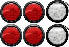 """4"""" Inch 12 LED Round Stop/Turn/Tail Truck Light w. Grommet+Plug: 4 Red 2 White"""