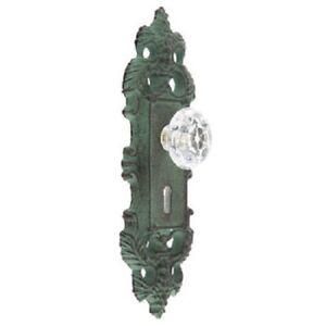 Cast Iron decorative door knob handle acrylic knob pull green antique patina