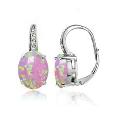 Sterling Silver Created Pink Opal and White Topaz Oval Leverback Earrings