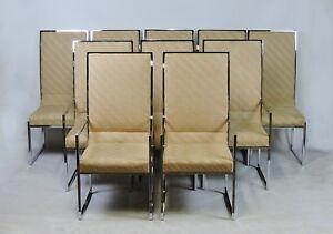 Set of Ten Milo Baughman Style Mid Century Modern Chrome High Back Dining Chairs