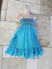MM Couture by Miss Me Green Cotton Eyelet Sundress Tubing Pockets Embroidery Med