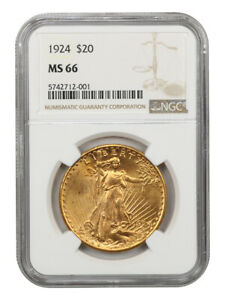 1924 $20 NGC MS66 - Gem Type Coin - Saint Gaudens Double Eagle - Gold Coin