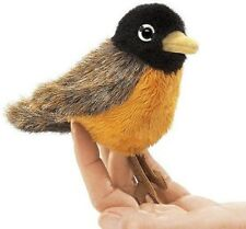 New Mini Robin Finger Puppet Folkmanis Toy Plush Orange Brown Spring Red Gift