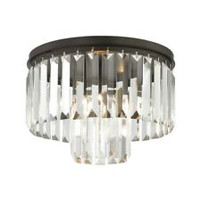 ELK Lighting Palacial 1-Light Semi Flush, Bronze/Clear Crystal - 15223-1