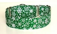 "1.5"" Small (whippet) Martingale Dog Collar Snowflakes on Green"