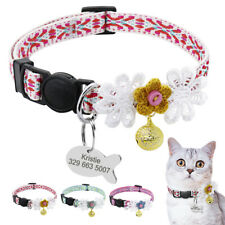 Cute Nylon Breakaway Cat Collar Adjustable Collar for Cats with Gold Bell Kitten