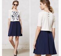 ANTHROPOLOGIE Lilka Womens Size XS Elise Navy Dress Cream Sweater