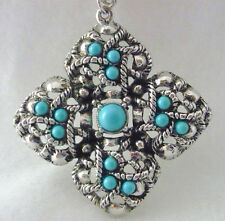 "Signed Avon Silvertone 30"" necklace with pendant with faux turquoise stones"