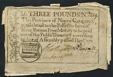 Three Pounds Providence Of No. Carolina Colonial Currency Dec 1771 Rare Hw1617