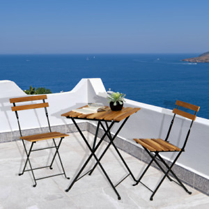 Solid Teak Wood Bistro Set Folding Table And Chair Set Power Coating Frame Patio