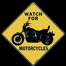 "Watch For MOTORCYCLES Sign-Yellow Alert Sign, 16""-Diag. 12""X12""-Sides, Aluminum"