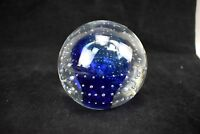 AY Glass Paperweight Suspended Bubbles Clear Blue Signed