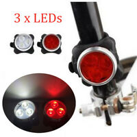 3 LED USB Rechargeable Cycling Bicycle Bike Head Front Rear Tail Clip Light Lamp