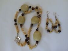 DESIGNS BY WENDY - Yellow & Brown Beaded Necklace & Earring Set - Custom