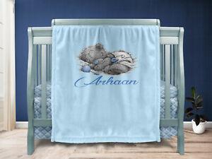 Personalised Baby Gift Throw Blanket Keepsake Blue