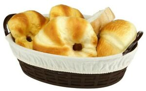 Oval Basket Set of 2 (1 Big+1 Smal)with Cotton Liner for Bread Pastries Plastic