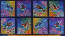 "23.5"" X 44"" Panel Hummingbirds Birds Flowers Digital Cotton Fabric Panel D567.78"