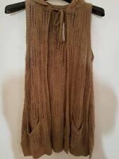 River Island Knit Hooded Sleeveless Cardigan - Tan - Size 8