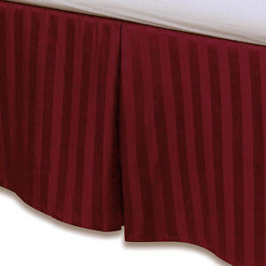 """Red Luxury Bed Skirt: 100% Egyptian Cotton, 500 Thread Count, 15"""" Drop"""