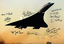 10 Signed CONCORDE Pilot Captain Autograph HUGH 18x12 Night Photo AFTAL COA