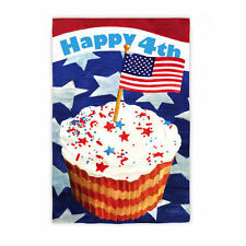 "HAPPY 4th of JULY PATRIOTIC CUPCAKE YARD GARDEN FLAG 12.5"" X 18"""