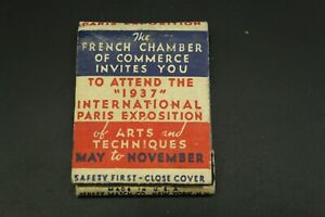 FRENCH LINE 1937 PARIS INTERNATIONAL EXPOSITION MATCHBOOK USED