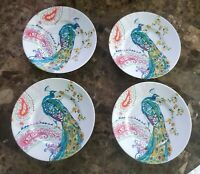 "222 Fifth Andalusia Peacock New 8.5"" Set of (4) Salad Plates  NWT"