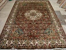 Rectangle Area Rug Brown Ivory Medallion Hand Knotted Wool Silk Carpet (9 x 6)'