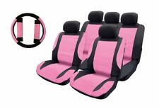 Pink Leather Look Car Seat Covers + Steering wheel for Ford Fiesta 14-On