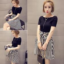 Korean Style Fashion Women's Short Tops + Striped Dress Leisure 2 Pieces Suit