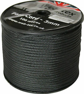 100m 100 metre 325ft Roll Spool Military Style 3mm Paracord Para Parachute Cord