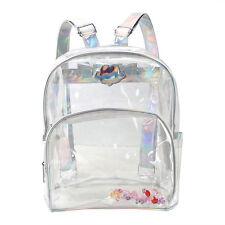 Womens Transparent Clear Backpack Shoulder Satchel Tote School Bag Handbag Pouch
