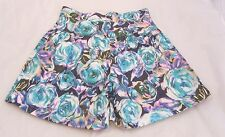 TOFU LONDON Blue Purple White Floral Print High Waisted Shorts Sz 6 Small