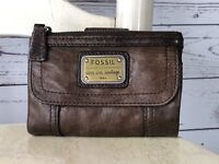 FOSSIL EMORY Women's Brown Soft Smooth Glazed Leather Trifold Wallet Clutch