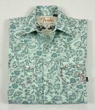 Fender Guitar Mens Outlaw Paisley Print Long Sleeve Snap Western Shirt Small