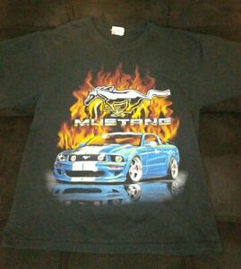 Ford Blue Mustang Crome Logo American Muscle Car Flames Graphic Size Youth Large