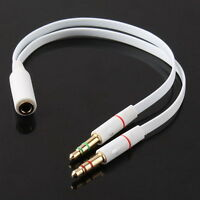 New Any 3.5mm Female to 2 Male Headphone With Mic Audio Y Splitter Cable  FT