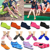 Men Women Kids Skin Water Shoes Aqua Beach Pool Swim Slip On Socks Waterproof