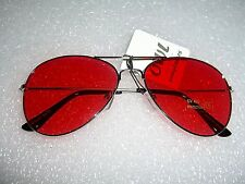 CLASSIC AVIATOR SUNGLASSES RED TINTED LENS SILVER ALL METAL FRAME