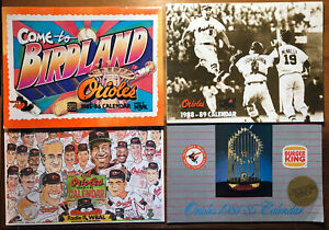 Four (4) Baltimore Orioles CALENDAR LOT Brooks Robinson Cal Ripken JR 1984