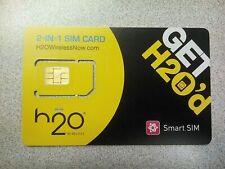 H2O H20 Dual Sim Card Prepaid, Use At&T Network Tower, Smart Sim Micro Or Reg.