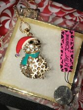 Betsey Johnson Necklace Green Scarf  SNOWMAN Gold CRYSTALS Christmas Snowflake