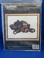 Charmin CATNAP Crewel Embroidery Kit Brown Teddy Bear Striped Tabby Cat #36-4