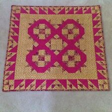 DAVID AND GOLIATH FUSHIA AND GOLD QUILTED WALLHANGING