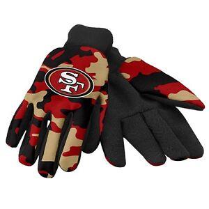 San Francisco 49ers Camo Camouflage Team Logo Licensed NFL Sport Utility Gloves
