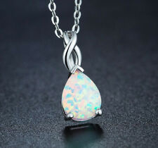 New! Water Drop Fire Opal Platinum Plated Crown Pendants Necklace + Free Chain