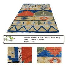 Gorgeous Indian Dhurrie Hand Knotted Wool Rug