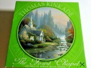 "Thomas Kinkade The Forest Chapel 750 Piece Jigsaw Puzzle 24"" Round"