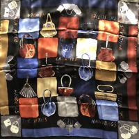 """Vtg Karl Lagerfeld Silk Scarf Handbags Of The Fifties 33"""" Sq"""