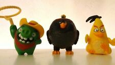 Lot of 3 McDonald's Angry Birds Movie Action Figures Chuck Bomb and Cowboy Pig
